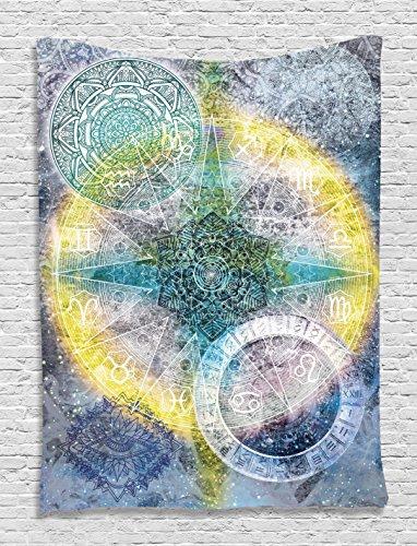 Batik Tapestry Zodiac Wall Decor Astrology Chart Calendar Horoscopes Indian Batik Stars Psychedelic Mandala Hippie Tapestry Hanging Dorm Bedroom Living Room Decorations, Blue Purple Yellow Green