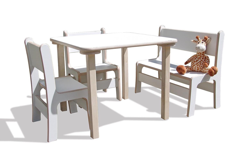Kindersitzgruppe – Kindermöbel – 1 Tisch, 2 Stühle, 1 Bank – weiss online bestellen