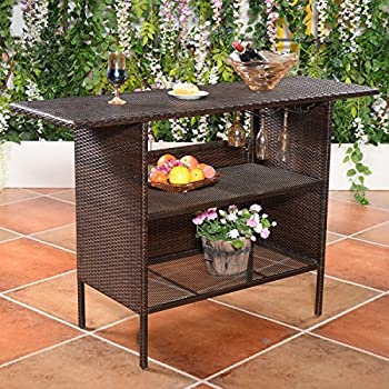 Giantex Outdoor Patio Rattan Wicker Bar Counter Table with 2 Steel Shelves, 2 Sets of Rails Garden Patio Furniture, Brown