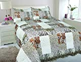 Ocean Home 3-piece Leopard Animal Design Polyester Quilts Bedspreads Set Bedding Coverlet Ensemble (California King, Leopard)