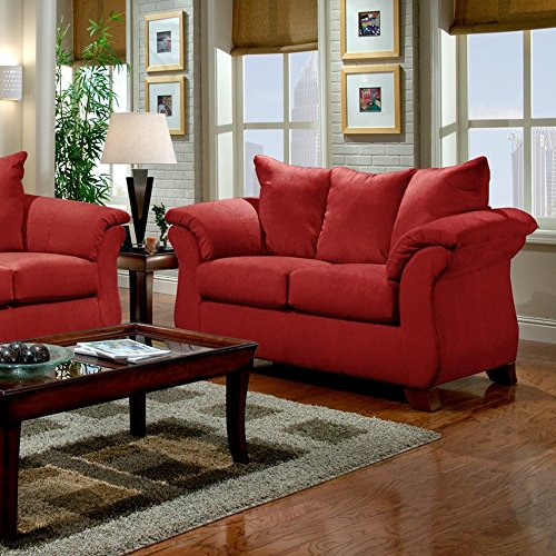 Roundhill furniture sensations microfiber pillow back sofa and loveseat set red sets living Microfiber sofa and loveseat set