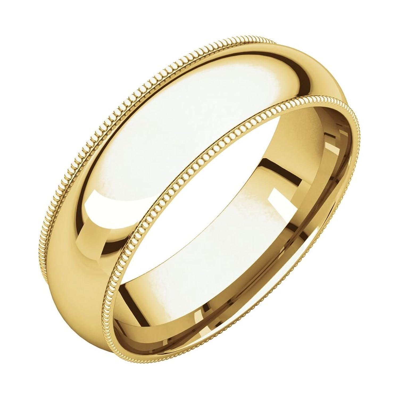 10k Yellow Gold Comfort Fit 6mm Milgrain Wedding Band Ring, Size 12 men s 18k yellow gold rolex inspired 8 5mm comfort fit wedding band