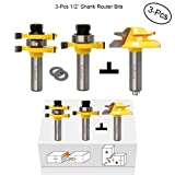 Valiant Tongue and Groove Router Bit Tool Set ½'' Shank With 45° Lock Miter Bit ½'' Shank - Solid Steel, Anti Kickback Design, Easy Operation - For Doors, Tables, Shelves, Walls, DIY Woodwork & More (Color: Silver & Yellow, Tamaño: 3.5 x 2 x 1.5 inches)