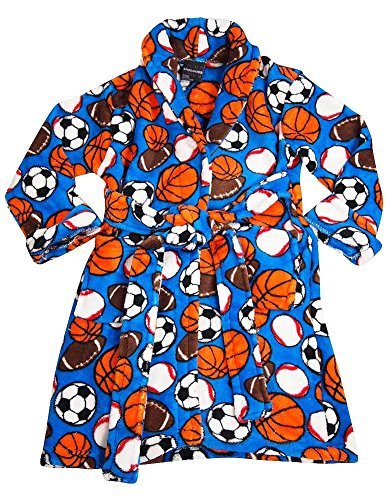 American Hero - Little Boys Soft Plush Cozy Soccer Basketball Sport Balls Robe, Blue 36336-4/5