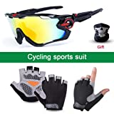 SENSHELN Cycling Bike Glasses and Gloves Set Polarized Sports Sunglasses with 4 Interchangeable Lens Foam Pad Shockproof Breathable Anti-Slip Gloves Outdoor Sports Workout Gloves (Gloves Medium) (Tamaño: Gloves Medium)