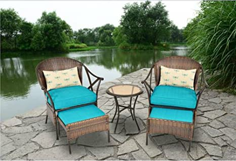 Outdoor Patio Furniture 5-piece All-Weather Wicker and Steel Leisure Bistro Set Cushioned Includes Ottomans