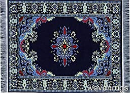 Navy Blue Oriental Woven Rug Mouse Pad - Persian Style Carpet Mousemat Miniature Rug