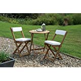 GARDEN TABLE AND CHAIRS FOLDING BISTRO SET WITH CUSHIONS FSC HARDWOOD NATURAL OILED FINISH
