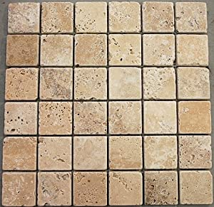 2 x2 light travertine tumbled backsplash mosaic tile 13a2