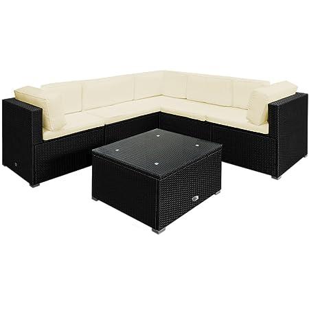 20tlg Medium Rattan Lounge Set Creme XXL Ruckenkissen Sitzgarnitur Gartenmöbel Gartenset Sitzgruppe Gartengarnitur