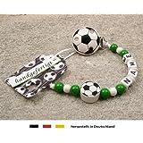 Baby SCHNULLERKETTE mit NAMEN | Motiv Fussball in Vereinsfarben - grün, weiß