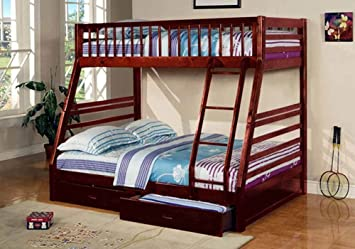 1PerfectChoice Youth Kids Bedroom Twin over Full Bunk Bed Ladder Storage Drawers Wood Cherry