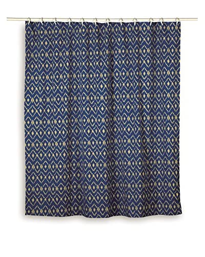 Rizzy Home Blue Ikat Shower Curtain
