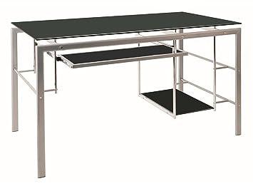 Bureau coloris alu-noir - Dim : L 130 x P 30 x H 77 cm - PEGANE -