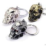 3 Pcs Skull Head Shape Terminator T800 Movie Keychain Keyring Cool Punk Alloy Metal Terror Gold Silver Grey Color Skull Holder Cosplay Costume Pendant