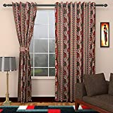 SEVEN STARS 1 Piece Polyester Floral Door Curtain - 7 ft, Maroon