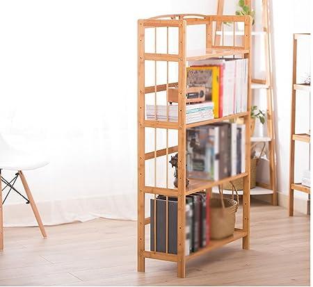 estable Estantería simple Estante de estantería de bambú Estantería de madera maciza Estantería de bambú estantería más gruesa Simple y elegante ( Color : #1 )