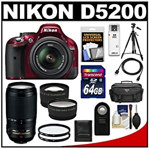 Nikon D5200 Digital SLR Camera & 18-55mm G VR DX AF-S Zoom Lens (Red) with 70-300mm VR Lens + 64GB Card + Battery + Case + Filters + Tele/Wide Lenses + Remote + HDMI Cable + Tripod + Accessory Kit