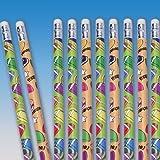 "Dozen Assorted Football Design Wooden #2 Pencils - 7.5"""
