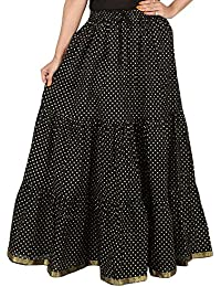 Archiecs Creation Self Design Women's Regular Skirt Black Polka (Free Size-SKT510)