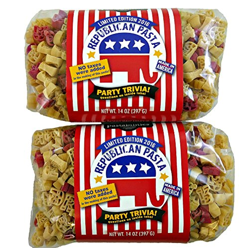 Republican Pasta Limited Edition 2016 - Elephant, Letter R and Star Shaped Pasta - 2 Pack (Grand Gourmet Pasta compare prices)