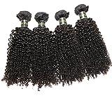 Generic Women's 4pieces Mix lots 22 24 26 28 Inch #1B Black Virgin Malaysian Kinky Curly Human Hair Weft