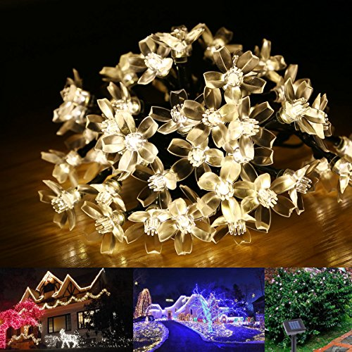 Le Solar Fairy Lights, 23Ft, Waterproof, 50 Leds, 1.2 V, Warm White, Portable, With Light Sensor, Outdoor Blossom String Lights, Ideal For Christmas, Wedding, Party