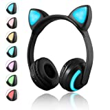Luckyu Wireless Bluetooth Cat Ear Headphones with Mic 7 Colors LED Light Flashing Glowing On-Ear Stereo Headset Compatible with Smartphones PC Tablet (Color: Black)