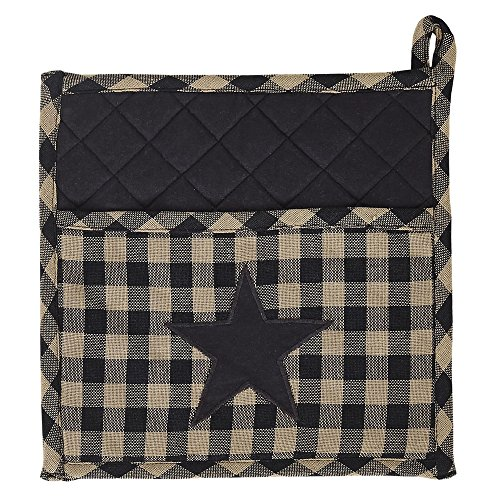 VHC Brands 20132 9 x 9 in. Black Star Pot Holder (Cow Pot Holders And Oven Mitts compare prices)