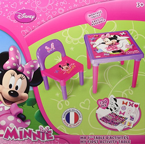 Minnie Mouse - Mesa infantil con silla y set de actividades, color rosa y lila (CDIM026)
