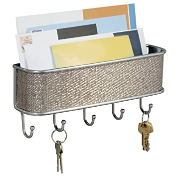 New wall mount mail and key rack home design basket organized steel 5 hooks ebay - Wall mount mail and key rack ...