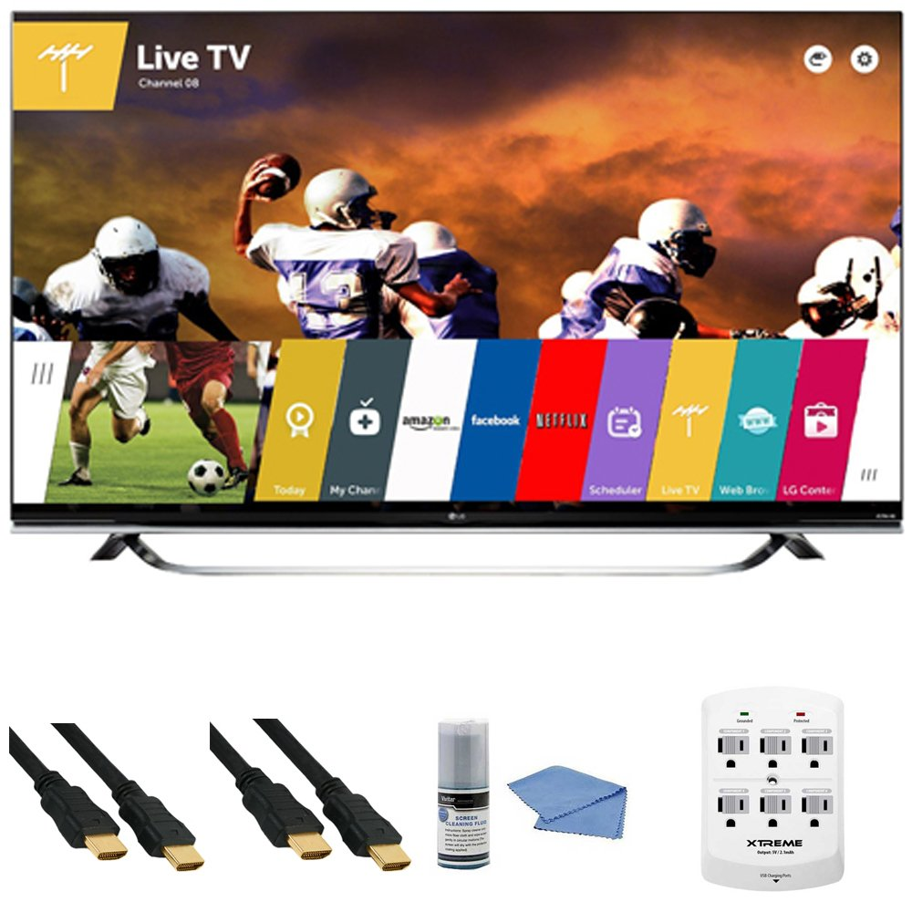 LG 65UF8500 - 65-Inch 2160p 240Hz 3D 4K Ultra HD LED UHD Smart TV WebOS +Hookup Kit - Includes TV, 6 Outlet Wall Tap Surge Protector with Dual 2.1A USB Ports, HDMI to HDMI Cable 6