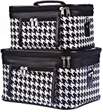 World Traveler Houndstooth Collection Cosmetic Train Case (2 piece set)