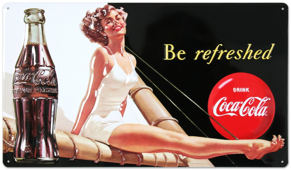 Drink Coca Cola Coke Be Refreshed Beauty Tin Sign 10 x 17in 0
