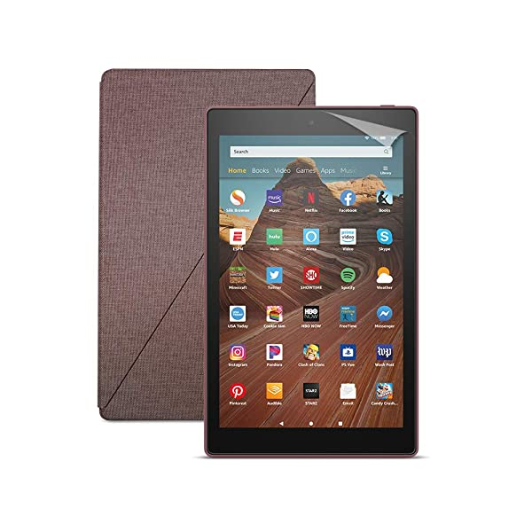 Fire HD 10 Tablet (64 GB, Plum, With Special Offers) + Amazon Standing Case (Plum) + Nupro Screen Protector (2-pack) (Color: Plum)