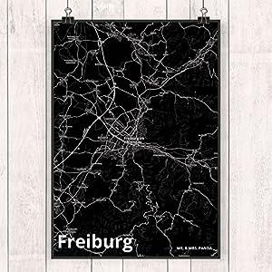 Mr. & Mrs. Panda Poster DIN A2 Stadt Freiburg Stadt Black - Stadt Dorf Karte Landkarte Map Stadtplan Poster, Wandposter, Bild, Wanddeko, Wand, Fan, Fanartikel, Souvenir, Andenken, Fanclub, Stadt, Mitbringsel