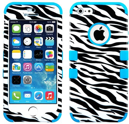 Mylife (Tm) Electric Sky Blue - Zebra Stripe Print Series (Neo Hypergrip Flex Gel) 3 Piece Case For Iphone 5/5S (5G) 5Th Generation Itouch Smartphone By Apple (External 2 Piece Fitted On Hard Rubberized Plates + Internal Soft Silicone Easy Grip Bumper Gel