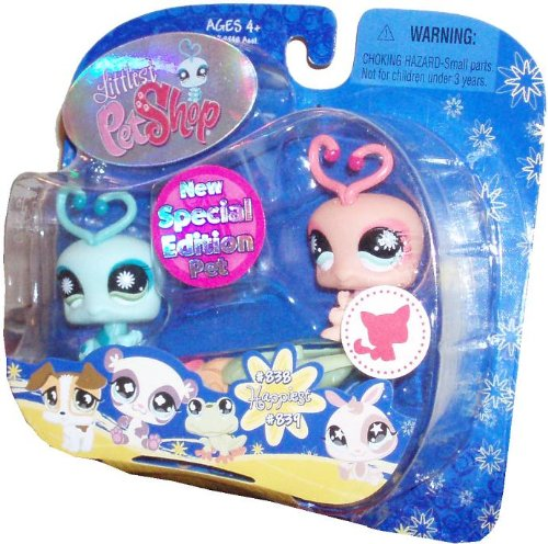 Buy Low Price Hasbro Littlest Pet Shop Special Edition Pet Pairs Happiest Series Portable Collectible Figure Gift Set – Blue Lovebug (#838) and Pink Lovebug (#839) Plus Seesaw Accessory (B0030DC6AG)