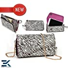 Ladies Shoulder Bag with Universal Phone Clutch fits Apple iPod touch 5th generation Wallet - ZEBRA & PURPLE. Bonus Ekatomi Screen Cleaner