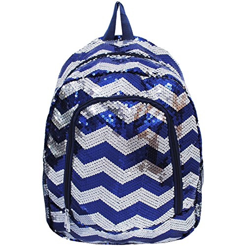 Chevron Pattern Sequin Cheer Yoga Girly School Backpack (Navy)