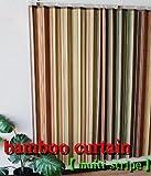 竹カーテン リゾート空間を演出する 竹製カーテン マルチストライプ (幅100cm×丈178cm) 2枚組み …