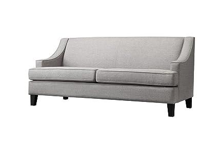 ModHaus Modern Gray Linen Fabric Swoop Arm Sofa