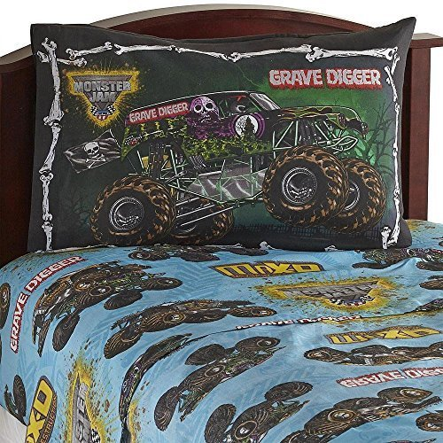 3pc Monster Jam Twin Bed Sheet Set Grave Digger Monster Truck Bedding Accessories by Jay Franco and Sons