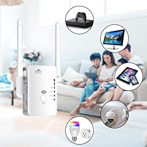 WiFi Extender Range Booster, Aigital Upgraded WiFi Repeater Mini Router Wireless Internet Signal Amplifier with Dual External Antennas, Extend Wi-Fi to Cover Longer Areas, Easy Setup (300Mbps, 2.4GHz) (Color: WiFi Extender with 2 High-Gain Antennas, Tamaño: small)