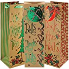 Whimsical Holiday Christmas Wine Bottle Gift Bags with Ribbon and Gift Tag (Pack of 3)