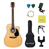 HUAWIND 41 inch Acoustic Guitar Steel Strings Cutaway Starer Kit with Gig Bag, Tuner, Strings, Strap,Picks and Polishing Cloth (41 inch acoustic guitar) (Color: H 41 inch acoustic guitar)