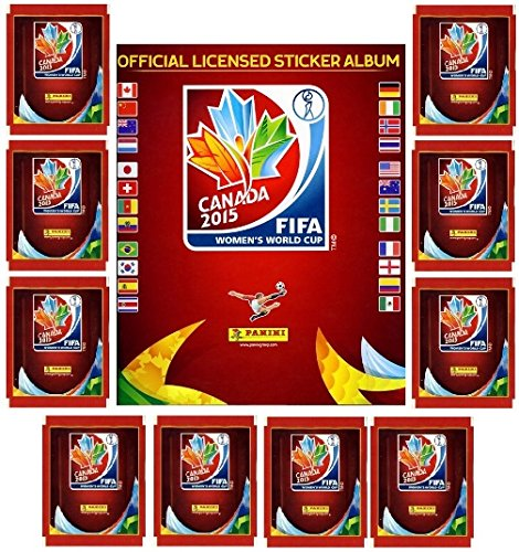 2015 Panini FIFA Women's World Cup Soccer Canada Special Sticker Collectors Package! Features 10 Factory Sealed Packs PLUS 56 Page World Cup Sticker Album!