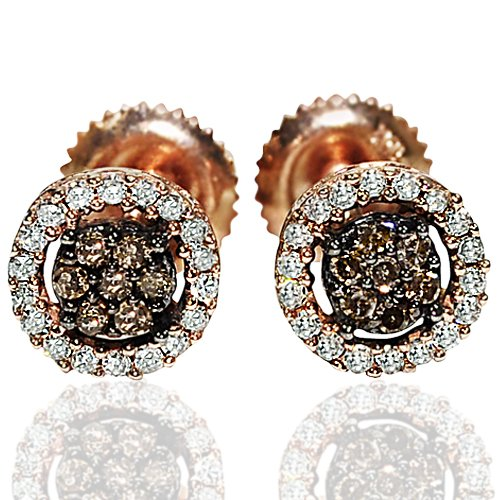Rose-Gold-Cognac-White-Diamond-Earrings-Screw-Back-7mm-0-25ct-W-Round