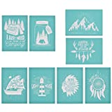 YeulionCraft Self-Adhesive Silk Screen Printing Stencil Mesh Transfers for DIY T-Shirt Pillow Fabric Painting Decoration (8PCS) (Color: 8pcs)
