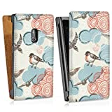 Down flip case leather cover shell for Vintage Birds Lumia 800 - design bag Downflip white - Nokia
